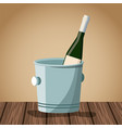 wine bottle design on wooden table vector image vector image