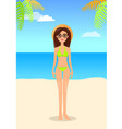 woman in panties and bra swimsuit hat vector image