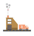 Isolated cartoon cigarette factory delivery flat d vector image