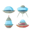 Cartoon alien spaceship spacecrafts and ufo vector image