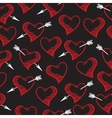 hand-drawn doodle seamless pattern with hearts vector image