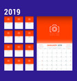 2019 year calendar planner stationery design vector image