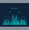 basel skyline switzerland linear style city vector image vector image