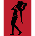 Bikini silhouette on red background2 vector image vector image