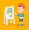 caucasian boy artist painting picture on a canvas vector image vector image