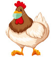 chicken cartoon character wearing mask vector image vector image