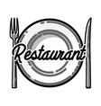 color vintage restaurant emblem vector image vector image