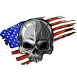 draw of skull and flag usa vector image vector image