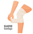 elastic bandage on human hurt leg isolated vector image