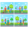 family with children and dog on walk in city park vector image vector image