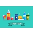 Fast food objects set Water bottle juice vector image vector image