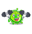 fitness character microbe bacterium on the palm vector image