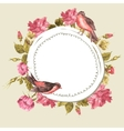 Floral Bouquet with Roses and Bird Vintage Card vector image vector image