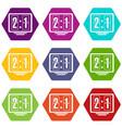 football scoreboard icons set 9 vector image