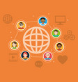 global people connection social media items vector image vector image