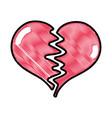 grated heart symbol of love broken design vector image