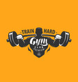 gym club logo or emblem bodybuilding fitness vector image vector image