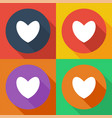 heart set colored icons flat design vector image