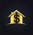house money sold gold logo vector image vector image