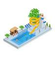 isometric aqua park with water slides water pool vector image vector image