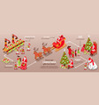isometric santa claus infographics vector image vector image