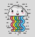kawaii cloud with waves rainbow design vector image