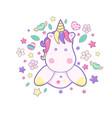 kawaii cute unicorn head face on the cloud pastel vector image vector image