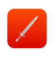 long sword icon digital red vector image vector image