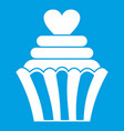 love cupcake icon white vector image vector image