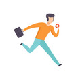 man in casual clothes running with briefcase and vector image