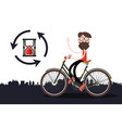 man on bicycle with sand clock vector image vector image