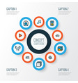 media icons colored line set with music film reel vector image vector image