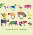 mosaic farm animals and birds silhouettes vector image