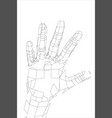 outline human hand wire-frame style vector image vector image