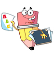 Pencil Guy Holding An ABC Report Card vector image vector image