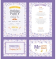 Puprle Holiday Party Invitation Set With vector image vector image