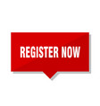 register now red tag vector image vector image