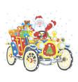 santa claus driving his car with christmas gifts vector image vector image