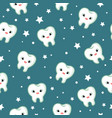 seamless pattern with teeth funny pattern vector image