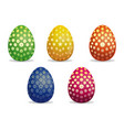 set easter eggs different patterns on easter eggs vector image