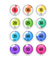 set of colorful timers vector image vector image