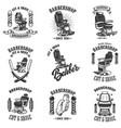 set vintage barber shop emblems with barber vector image