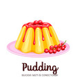 vanilla pudding with syrup vector image vector image