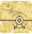 Vintage grunge postcard design with plane vector image
