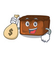 with money bag brownies character cartoon style vector image vector image