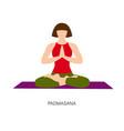woman in ardha padmasana or yoga lotus pose vector image vector image