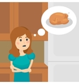Woman on a diet dreaming of tasty food vector image