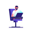 young freelancer programmer coding with laptop vector image