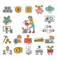 bitcoin mining money icons virtual crypto currence vector image