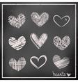 Hand drawn hearts on chalkboard vector image